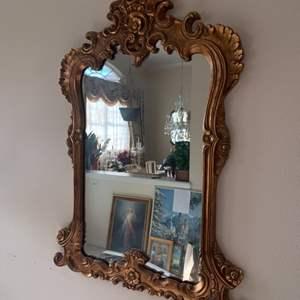 Lot # 6 Vintage Gold Framed Hanging Mirror