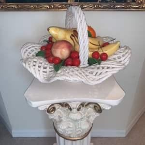 Lot # 7 Metal Like Basket of Painted Fruit