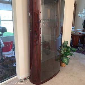 Lot # 10  Midcentury Slight Curved Wall China Cabinet (see Pictures)