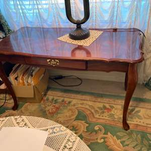 Lot # 19 Long Wood Side Table W/ 1 Drawer