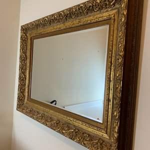 Lot # 45 Large Wood Framed Hanging Mirror