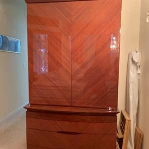 Lot # 46 Tall Wood Wardrobe