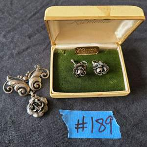 Lot # 73 Sterling Silver Earings W/ Pin
