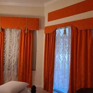 Lot # 103 Long Orange Window Dressing W/ Sheer Falls