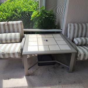 Lot # 127 Set of 2 Matching Outdoor Chair W/ Cushions & Outdoor Table