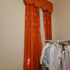 Lot # 209 Long Orange Window Dressing W/ Sheer Falls
