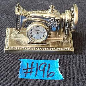 Lot # 230 Vintage Timex Sewing Machine Clock in Pewter Finish
