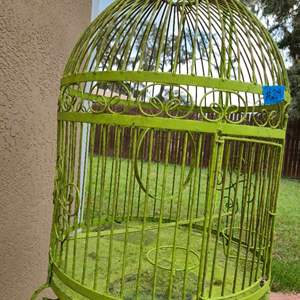 Lot # 244 Lime Green Bird Cage W/ Stand