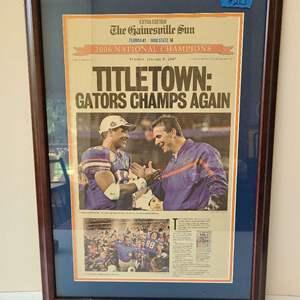 Lot # 248 Gators Championship Newspaper Article (Framed)
