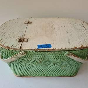 Lot # 266 Vintage Green Picnic Basket
