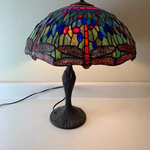 Lot # 269Tiffany Style stained glass lamp.