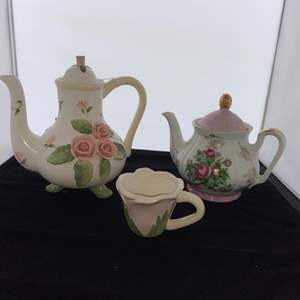 Lot # 8 Pretty Teapots and Pottery Cup