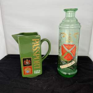 Lot # 13 Vintage Passport Whiskey Pitcher and Old Fitzgerald Decanter (No Stopper)