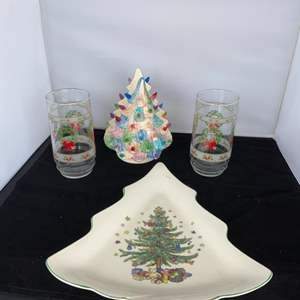 Lot # 15 Christmas Themed Nikko Platter, Napkin Holder & Glasses