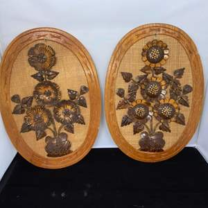 Lot # 20 1970s Floral Wall Hanging Carved Coconut Shell Flowers Burlap Wood