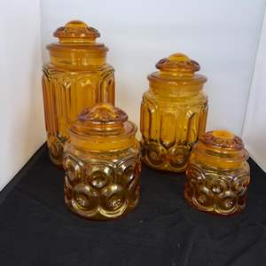 Lot # 25 Vintage L.E. Smith MOON AND STARS Amber Glass Canister Set
