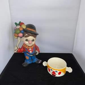 Lot # 32 Ceramic Clown & Clown Bowl