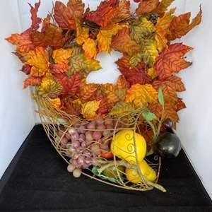 Lot # 52 Pretty Fall Wreath & Cornucopia Basket Full of Faux Fruit