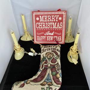 Lot # 56 Christmas Sign, Stocking & Lights