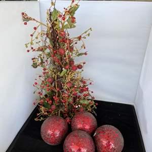 Lot # 57 Holly Tree Decor & Large Ornaments