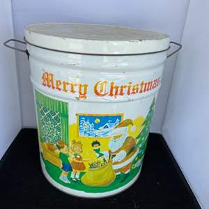 Lot # 60 Large Vintage Christmas Tin Bucket
