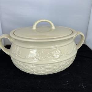 Lot # 64 Beautiful Celebrating Home Bean Pot w/ Lid in Nice Condition