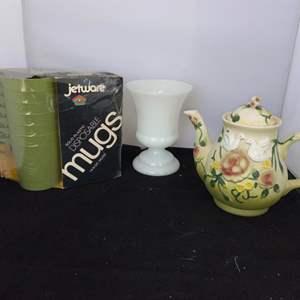 Lot # 66 Pretty Teapot, Disposable Mugs & More
