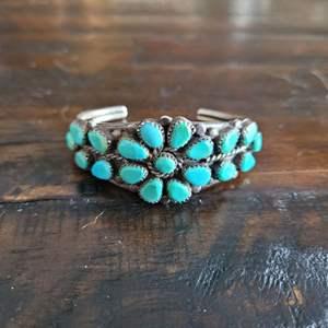 Lot # 116 Sterling Silver Cuff Bracelet w/ Turquoise Stones