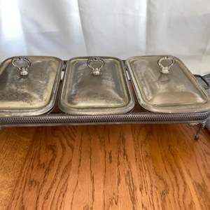 Lot # 130 Vintage Silver Plated Triple Chafing Dish