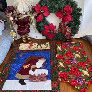 Lot # 138 Holiday Table Runners, Wreath & Santa Figurine