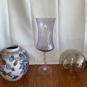 Lot # 147 (2) Vases & Orb