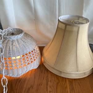 Lot # 159 Wicker Swag Light & Lamp Shades (2)