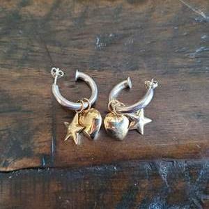 Lot # 172 Sterling Silver Stars & Hearts Earrings