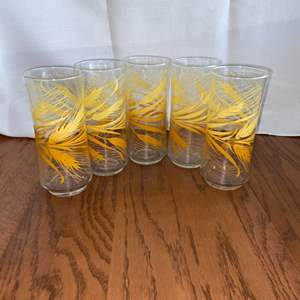 Lot # 215 (5) Libbey Wheat Decorated 16 ounce Clear Glass Ice Tea Tumblers