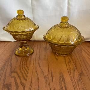 Lot # 246 Beautiful Amber Glass Candy Dishes