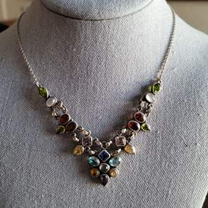 Lot # 251 Beautiful Sterling Silver Multi Stone Necklace
