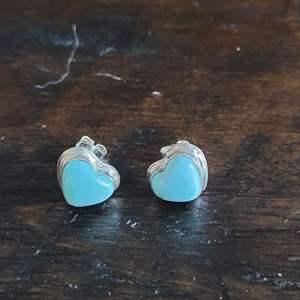 Lot # 256 Sterling Silver Blue Stone Heart Earrings