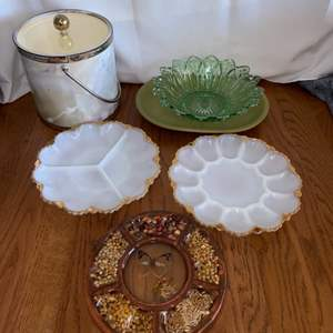 Lot # 260 Nice Serving Dishes, Deviled Egg Platter and Ice Bucket