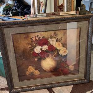Lot # 263 Large Framed Floral Artwork