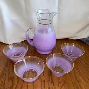 Lot # 272 Vintage Purple Pitcher w/ Ice Lip & Stemless Margarita Glasses - Great Set!