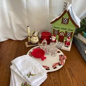 Lot # 282 Holiday Cookie Jar, Napkins & More