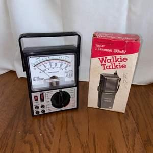 Lot # 288 Vintage Walkie Talkie & Sears Multimeter