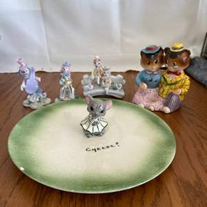 Lot # 330 Adorable Cheese Plate & Figurines