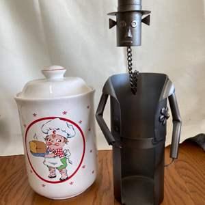 Lot # 331 Tin Man Wine Holder & Cookie Jar