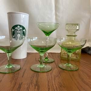 Lot # 336 Green Glasses, Decanter & Starbucks Cup