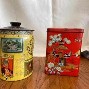 Lot # 339 Vintage Tea Tin Cans