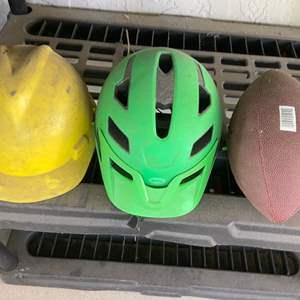 Lot # 385 Hard Hat, Bike Helmet & Football