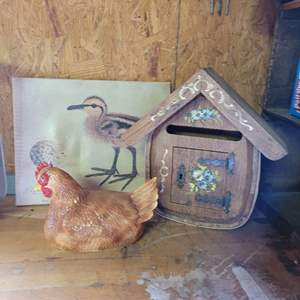 Lot # 1 Bird House Mail Box, Porcelain Chicken & Duck Picture on Canvas
