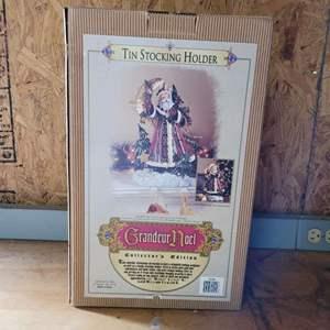 Lot # 4 Grandeur Noel 2002 Tin Stocking Holder in Box - Nice!