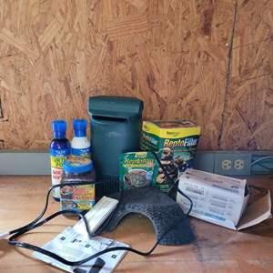 Lot # 6 Aquarium Supplies w/ Turtle Food